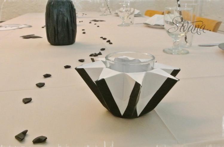 • diy • Black and white Partydeko • Kerzenglasdeko mit Washitape