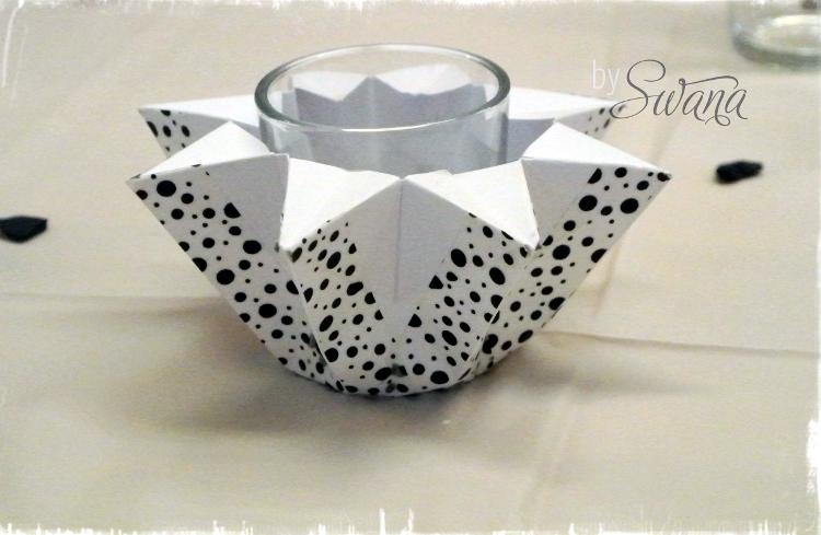 • diy • Black and white Partydeko • Kerzenglas aus Papier falten mit Washitape