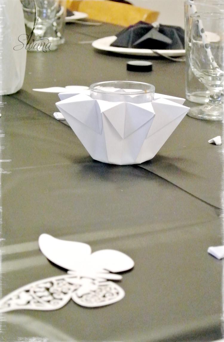 • diy • Black and white Partydeko • Kerzenglas aus Papier falten