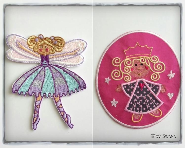 • nähen • Prinzessinnen und Feen Applikationen selber sticken • lila und rosa