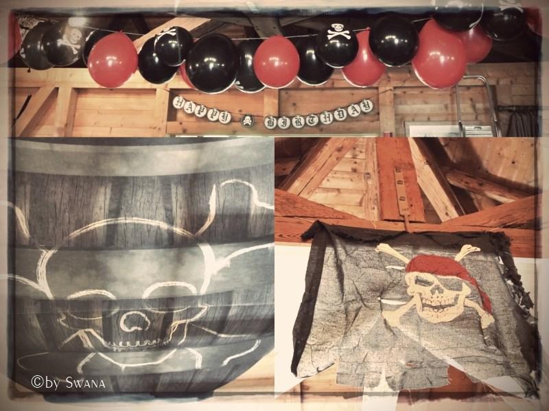 • nähen • es war eine super Piratenparty • Party Deko • Pulverfass und Piratenflage