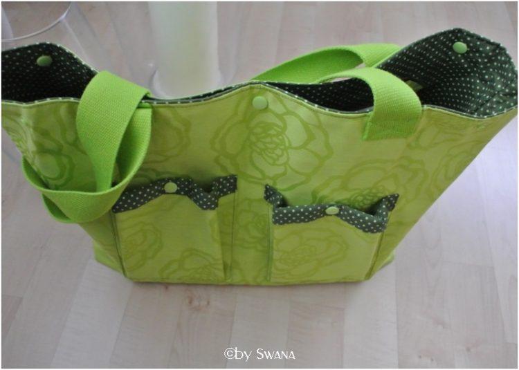 • nähen • kleine grüne Tasche in beschichteter Baumwolle