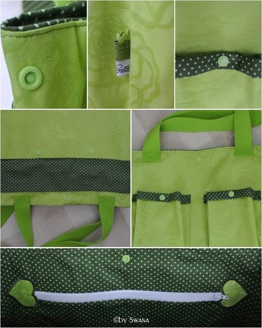 • nähen • kleine grüner Tasche in beschichteter Baumwolle • innen gepunktet