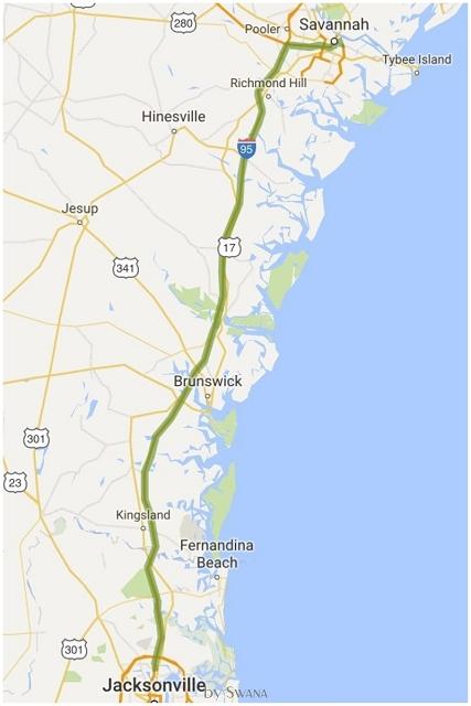 • on tour • Reise von Miami nach New York - Jacksonville nach Savannah