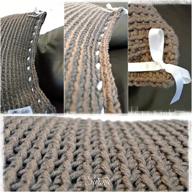 • häkeln • Häkelkissen selber machen aus Merinowolle mit einer Satinschleife