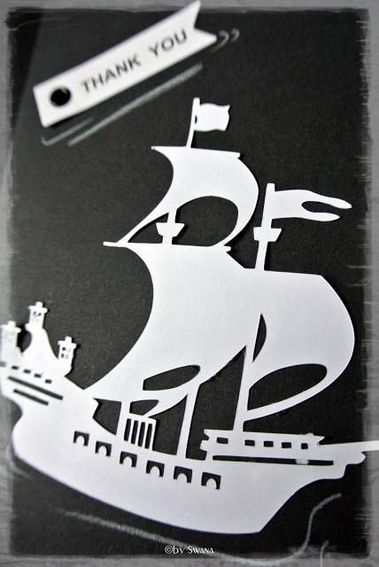 • DIY • Piratenparty - Dankeskärtchen selber machen • auf schwarzem Halbkarton