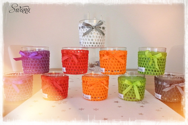 nähen • Weinachtsgeschenke • Kerzengläser in vielen Farben