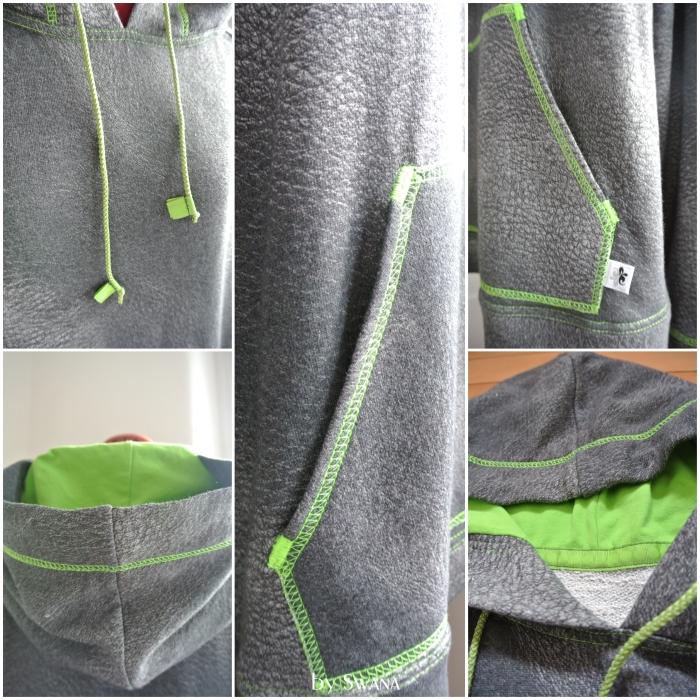 • nähen • Sweater für richtige Männer • grau mit grünem Kontrast