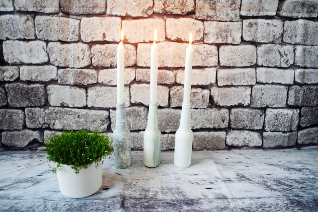 • DIY • Alte Glasflaschen als Kerzenständer • fertig