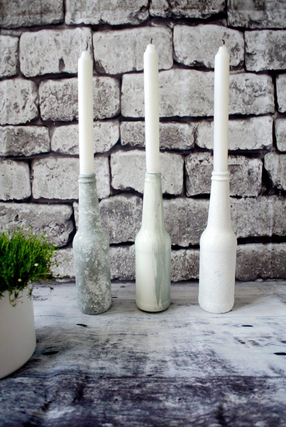 • DIY • Alte Glasflaschen als Kerzenständer