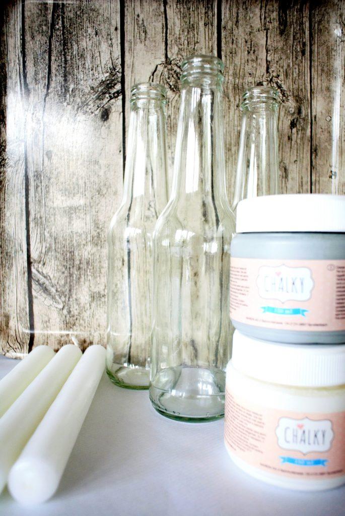 • DIY • Alte Glasflaschen als Kerzenständer • Chalky Farbe in weiss und grau