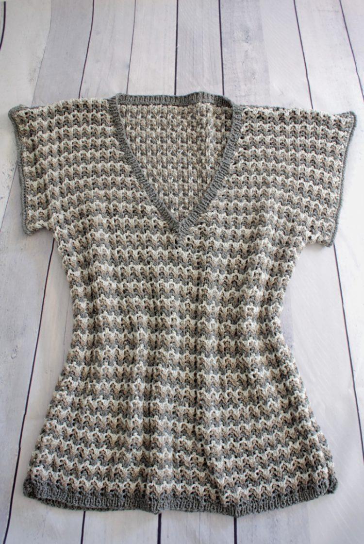 • stricken • kurzarm Pullover im Rippenajourmuster • fertig