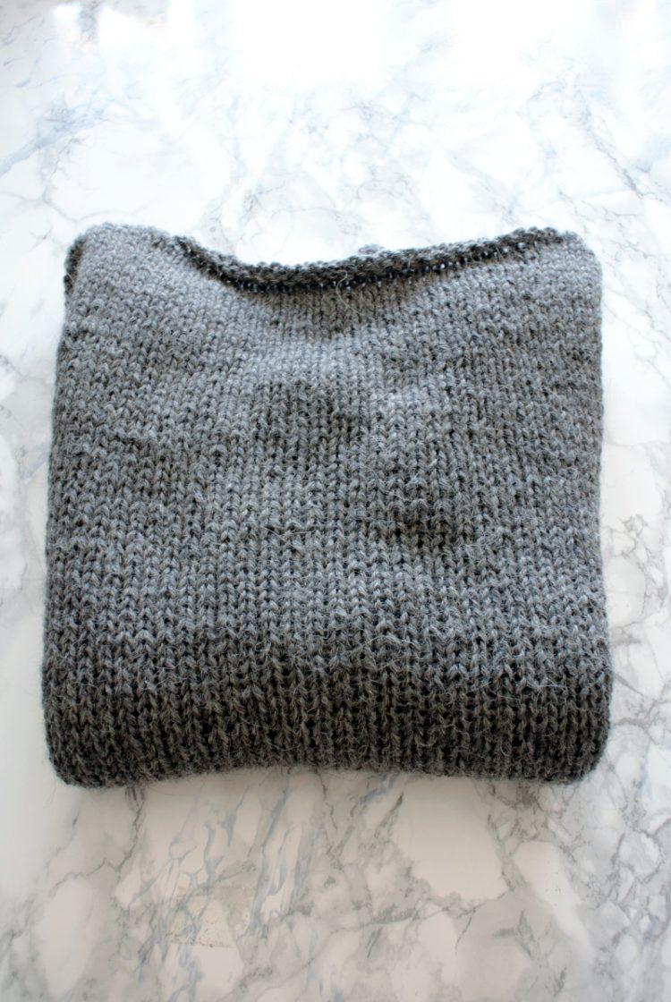 • Wolle & Garn • einfacher Langarmpullover aus Alpakawolle stricken • in grau