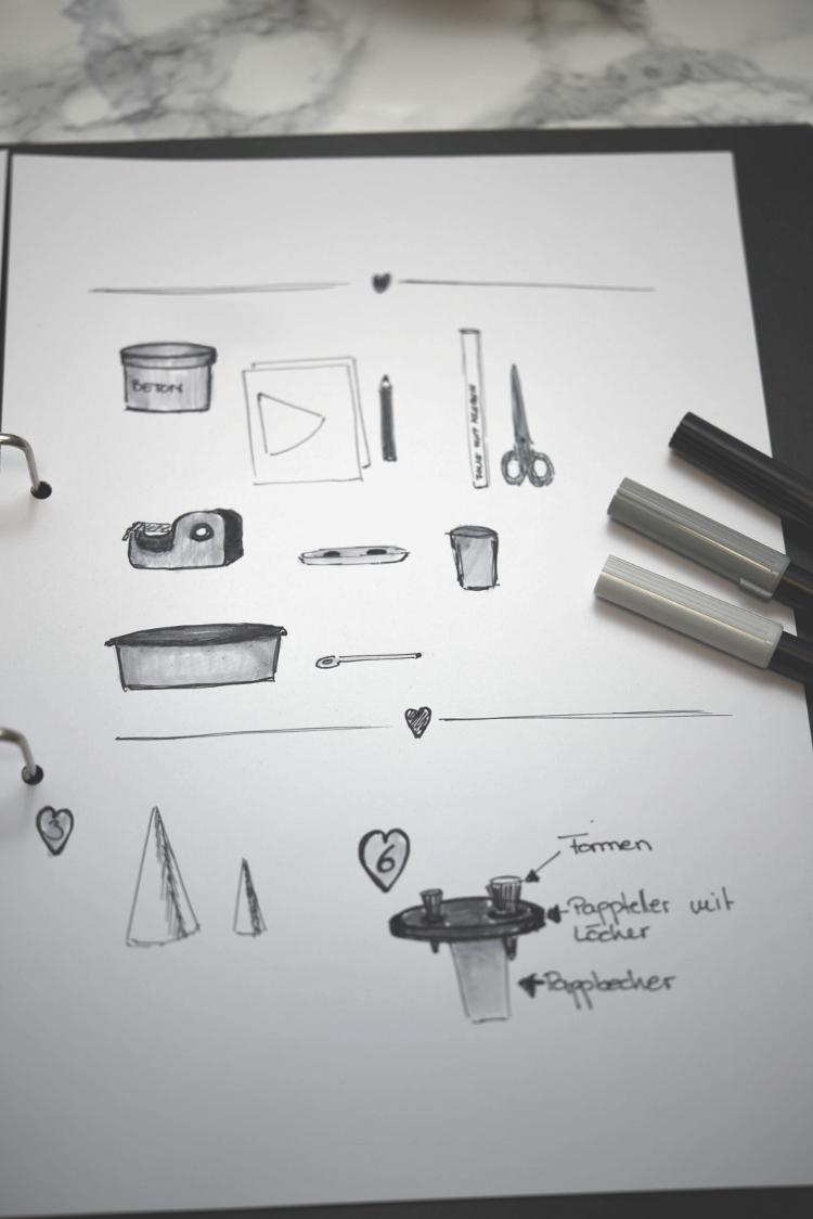 Fingerring- und Armreifhalter aus Beton - Skizze