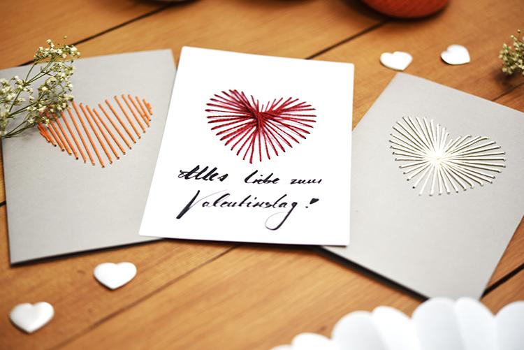 DIY • gestickte Valentinstag Karten • beschriften
