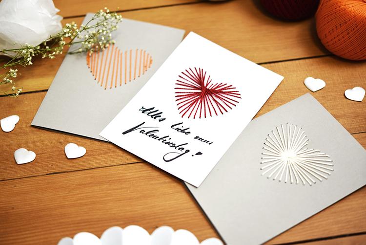 DIY • gestickte Valentinstag Karten • selber machen in diversen Farben